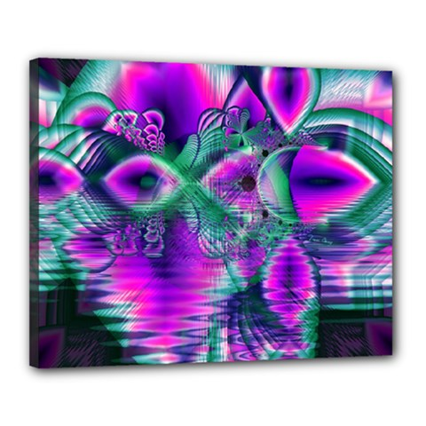 Teal Violet Crystal Palace, Abstract Cosmic Heart Canvas 20  X 16  (framed)