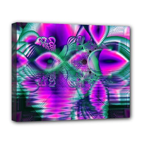 Teal Violet Crystal Palace, Abstract Cosmic Heart Deluxe Canvas 20  X 16  (framed) by DianeClancy