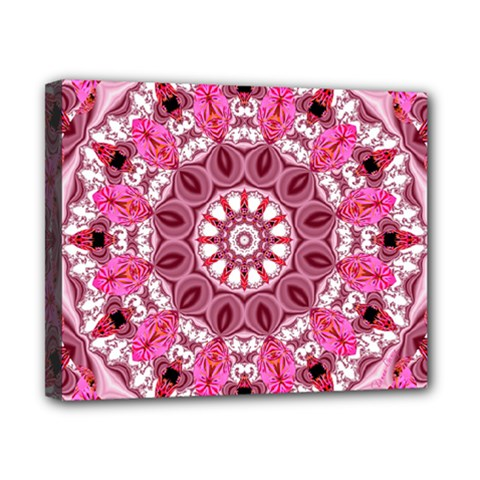 Twirling Pink, Abstract Candy Lace Jewels Mandala  Canvas 10  X 8  (framed) by DianeClancy