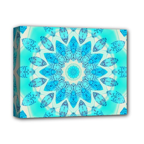 Blue Ice Goddess, Abstract Crystals Of Love Deluxe Canvas 14  X 11  (framed) by DianeClancy
