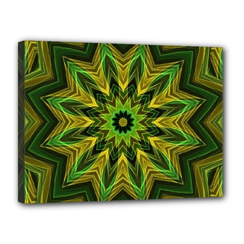 Woven Jungle Leaves Mandala Canvas 16  X 12  (framed)
