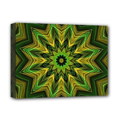 Woven Jungle Leaves Mandala Deluxe Canvas 16  X 12  (framed)  by Zandiepants