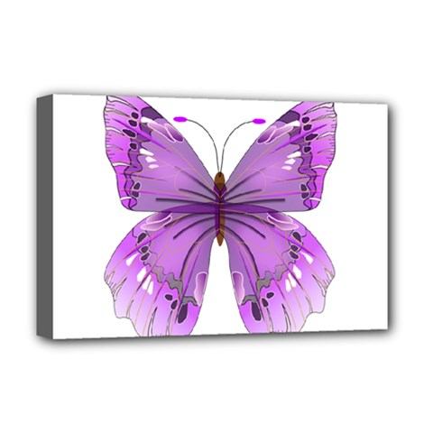 Purple Awareness Butterfly Deluxe Canvas 18  X 12  (framed) by FunWithFibro