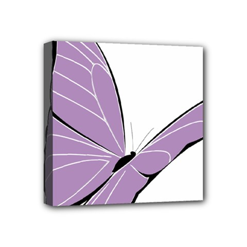 Purple Awareness Butterfly 2 Mini Canvas 4  X 4  (framed) by FunWithFibro