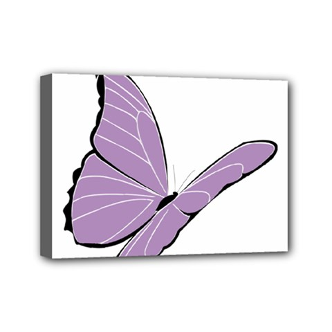 Purple Awareness Butterfly 2 Mini Canvas 7  X 5  (framed) by FunWithFibro