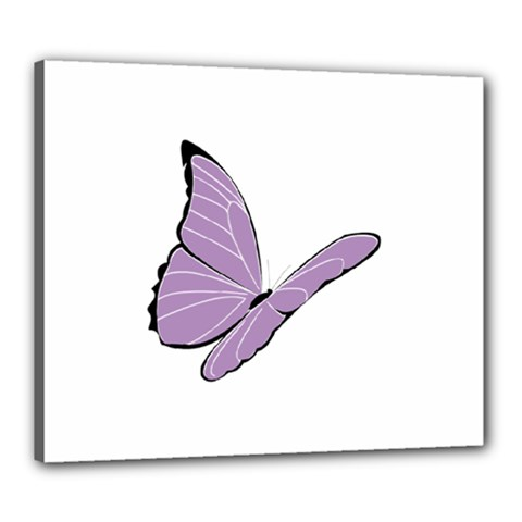 Purple Awareness Butterfly 2 Canvas 24  X 20  (framed) by FunWithFibro