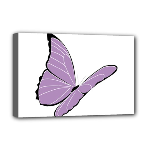 Purple Awareness Butterfly 2 Deluxe Canvas 18  X 12  (framed) by FunWithFibro