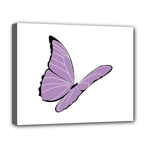 Purple Awareness Butterfly 2 Deluxe Canvas 20  X 16  (framed) by FunWithFibro