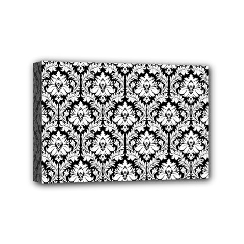 White On Black Damask Mini Canvas 6  X 4  (framed) by Zandiepants