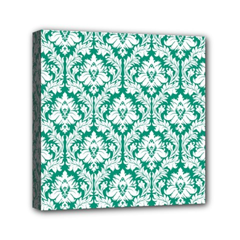 White On Emerald Green Damask Mini Canvas 6  X 6  (framed) by Zandiepants