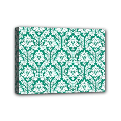 White On Emerald Green Damask Mini Canvas 7  X 5  (framed) by Zandiepants