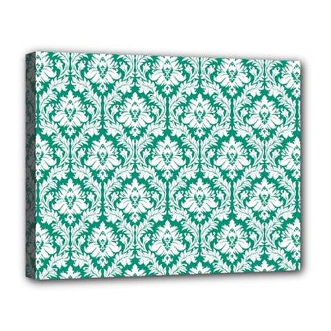 White On Emerald Green Damask Canvas 14  X 11  (framed) by Zandiepants
