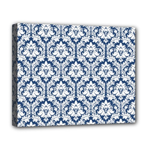 White On Blue Damask Deluxe Canvas 20  x 16  (Framed) by Zandiepants