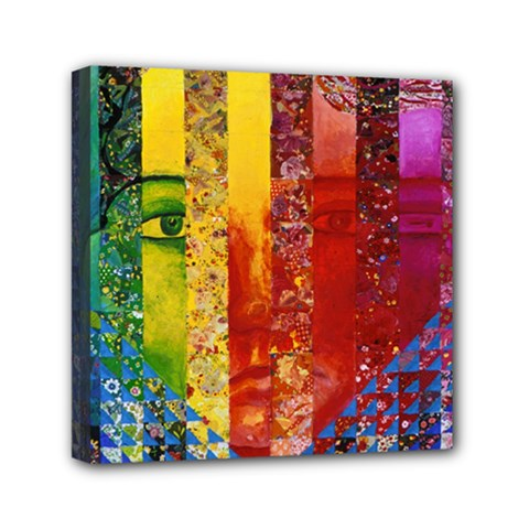Conundrum I, Abstract Rainbow Woman Goddess  Mini Canvas 6  X 6  (framed) by DianeClancy