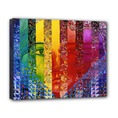 Conundrum I, Abstract Rainbow Woman Goddess  Deluxe Canvas 20  X 16  (framed) by DianeClancy