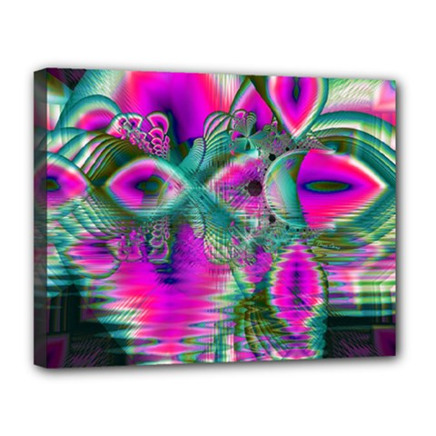 Crystal Flower Garden, Abstract Teal Violet Canvas 14  X 11  (framed) by DianeClancy