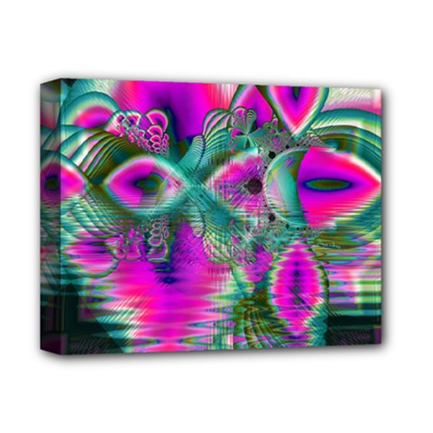 Crystal Flower Garden, Abstract Teal Violet Deluxe Canvas 14  X 11  (framed) by DianeClancy
