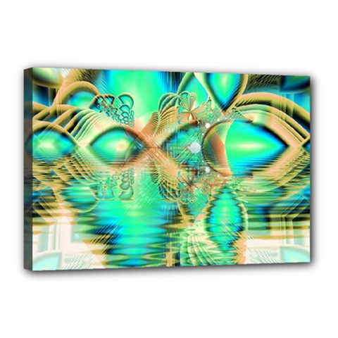 Golden Teal Peacock, Abstract Copper Crystal Canvas 18  X 12  (framed) by DianeClancy