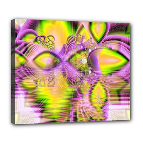 Golden Violet Crystal Heart Of Fire, Abstract Deluxe Canvas 24  X 20  (framed) by DianeClancy