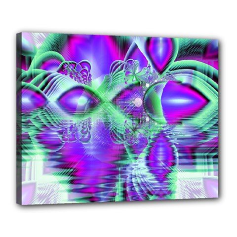 Violet Peacock Feathers, Abstract Crystal Mint Green Canvas 20  X 16  (framed) by DianeClancy