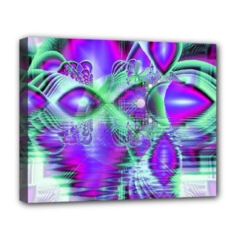 Violet Peacock Feathers, Abstract Crystal Mint Green Deluxe Canvas 20  X 16  (framed) by DianeClancy