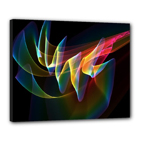 Northern Lights, Abstract Rainbow Aurora Canvas 20  X 16  (framed) by DianeClancy