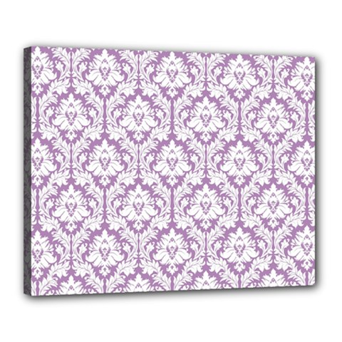 White On Lilac Damask Canvas 20  x 16  (Framed) by Zandiepants