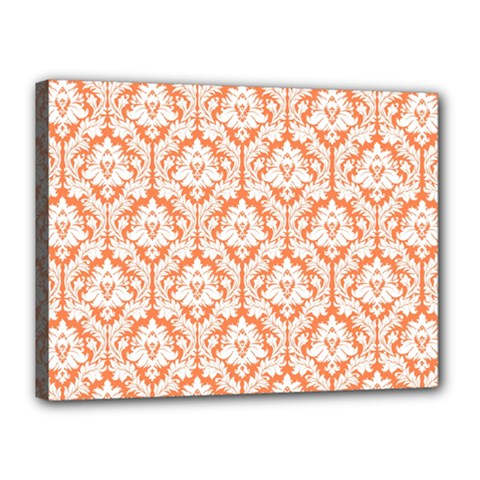 White On Orange Damask Canvas 16  X 12  (framed) by Zandiepants