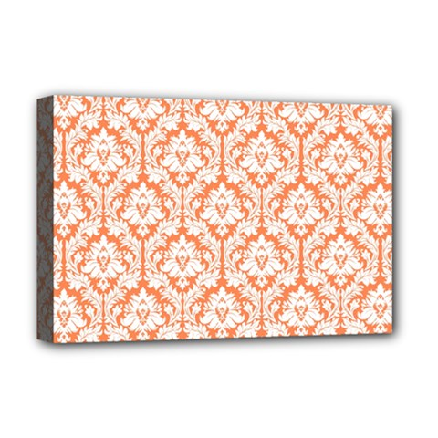 White On Orange Damask Deluxe Canvas 18  X 12  (framed) by Zandiepants