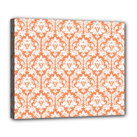 White On Orange Damask Deluxe Canvas 24  X 20  (framed) by Zandiepants