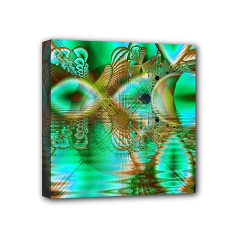 Spring Leaves, Abstract Crystal Flower Garden Mini Canvas 4  X 4  (framed) by DianeClancy