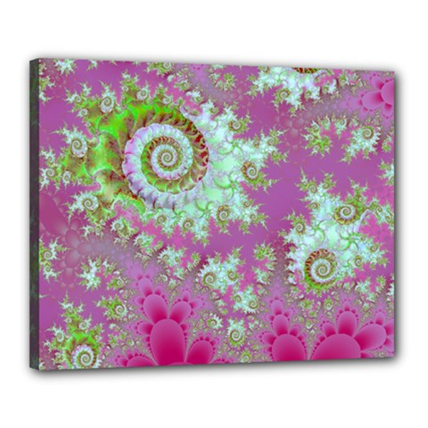 Raspberry Lime Surprise, Abstract Sea Garden  Canvas 20  X 16  (framed) by DianeClancy