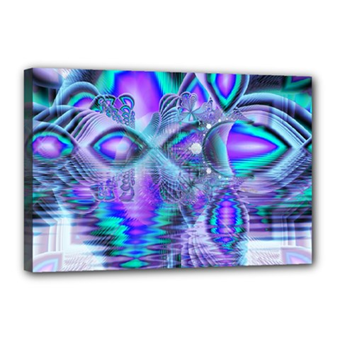 Peacock Crystal Palace Of Dreams, Abstract Canvas 18  X 12  (framed) by DianeClancy
