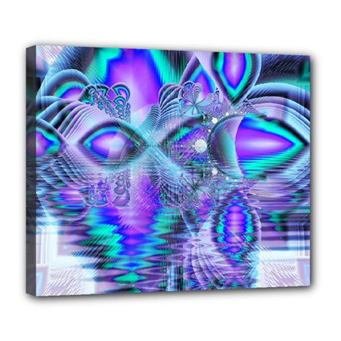 Peacock Crystal Palace Of Dreams, Abstract Deluxe Canvas 24  X 20  (framed) by DianeClancy