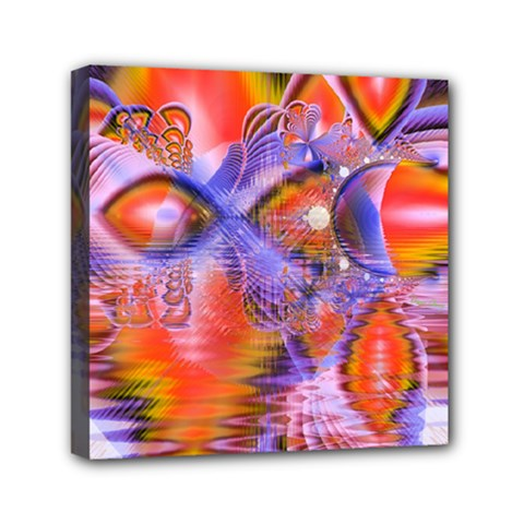 Crystal Star Dance, Abstract Purple Orange Mini Canvas 6  X 6  (framed) by DianeClancy