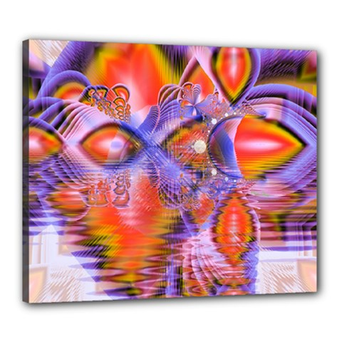 Crystal Star Dance, Abstract Purple Orange Canvas 24  X 20  (framed) by DianeClancy