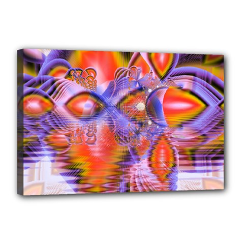 Crystal Star Dance, Abstract Purple Orange Canvas 18  X 12  (framed) by DianeClancy