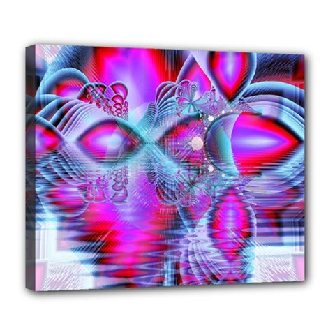 Crystal Northern Lights Palace, Abstract Ice  Deluxe Canvas 24  X 20  (framed) by DianeClancy