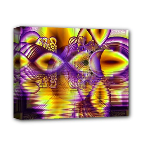 Golden Violet Crystal Palace, Abstract Cosmic Explosion Deluxe Canvas 14  X 11  (framed) by DianeClancy