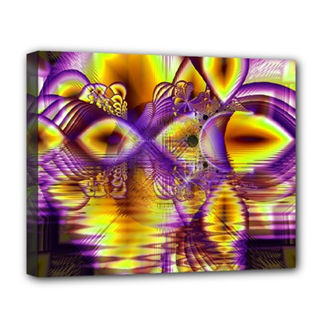 Golden Violet Crystal Palace, Abstract Cosmic Explosion Deluxe Canvas 20  X 16  (framed) by DianeClancy