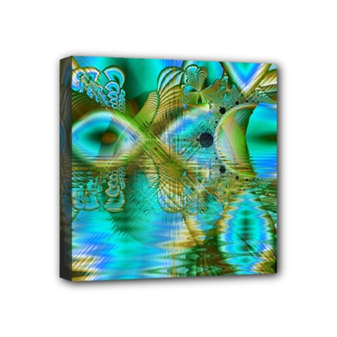 Crystal Gold Peacock, Abstract Mystical Lake Mini Canvas 4  X 4  (framed) by DianeClancy