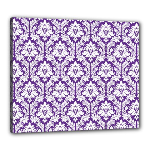 White On Purple Damask Canvas 24  X 20  (framed) by Zandiepants