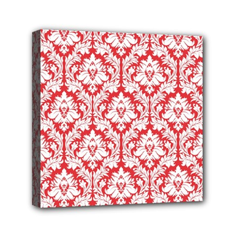 White On Red Damask Mini Canvas 6  X 6  (framed) by Zandiepants