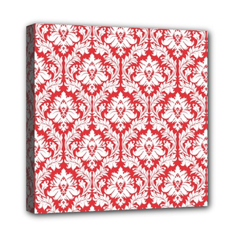 White On Red Damask Mini Canvas 8  X 8  (framed) by Zandiepants