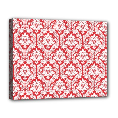 White On Red Damask Canvas 14  X 11  (framed) by Zandiepants