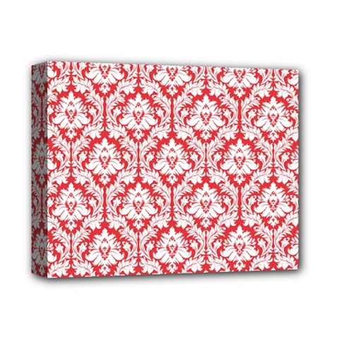 White On Red Damask Deluxe Canvas 14  x 11  (Framed) by Zandiepants