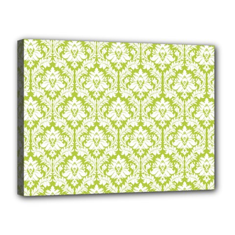 White On Spring Green Damask Canvas 16  x 12  (Framed) by Zandiepants