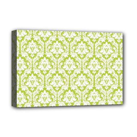 White On Spring Green Damask Deluxe Canvas 18  X 12  (framed) by Zandiepants