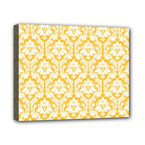 White On Sunny Yellow Damask Canvas 10  X 8  (framed) by Zandiepants
