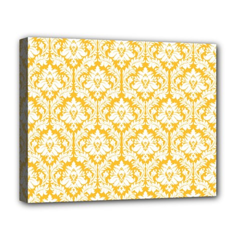 White On Sunny Yellow Damask Deluxe Canvas 20  X 16  (framed) by Zandiepants